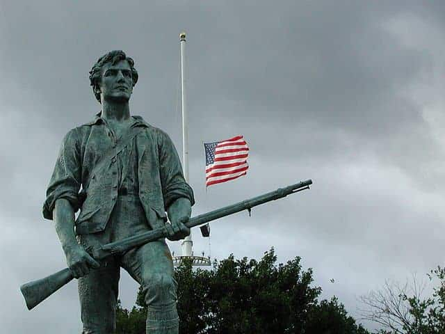 """Minuteman"" by sculptor Henry Hudson Kitson (1863-1947), dedicated April 19, 1900. Erected 1899. 9th Circuit to decide open carry."