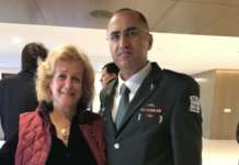 The writer with Brigadier General Dr. Tarif Bader