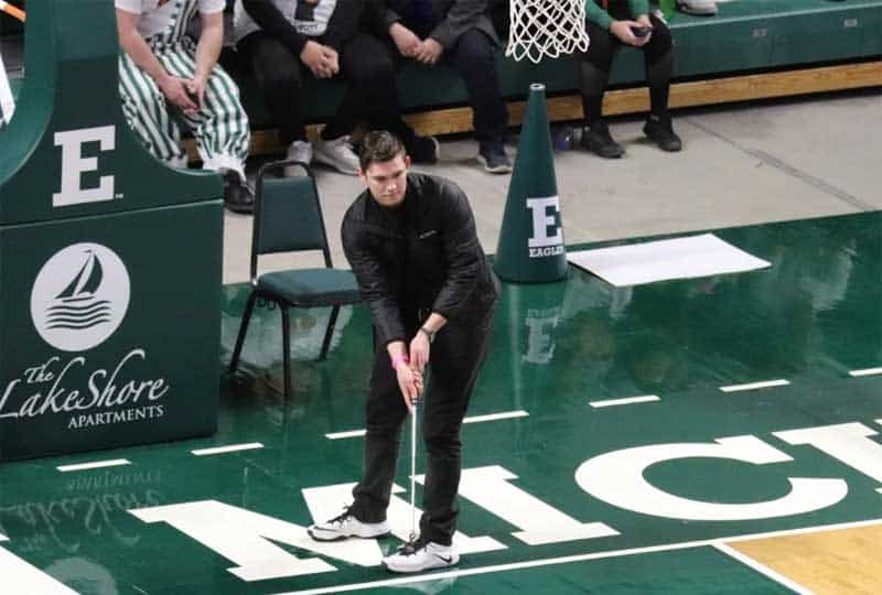 Jacob Lackey, an EMU nursing student shows great form as his effort won him a cool $10-K.