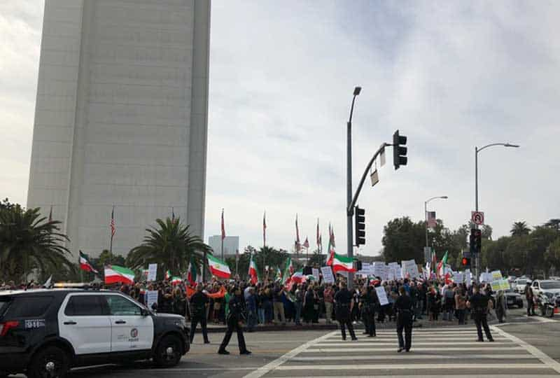free iran demonstration near federal building in los angeles
