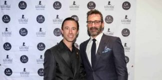Jon Hamm (r). with Palm Beach Show Group President and CEO Scott Diament (LA Art Show) Photo: Birdman Photo, courtesy LA Art Show, 2018.