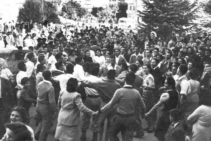Jews dance in the streets of Palestine after the UN agreed to resolution 181 partition