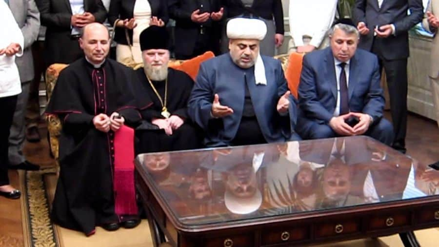 Coexistence in Azerbiajan-Lto-R-Alexander Ishein-Russian Orthodox Archbishop, Vladimir Fekete-Catholic Bishop and Milikh Yevdayev-President of the Mountainous Jewish Community of Azerbaijan
