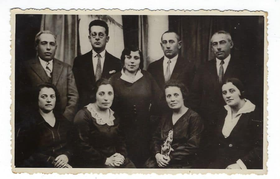 The grandparents I never had and other family members I have no knowledge who they are in a family photo-my-mother's-parents-Rivka-Gurewitz-Katz-front row 1st on left (sitting) and Yoseph-Katz-2nd row standing first on left