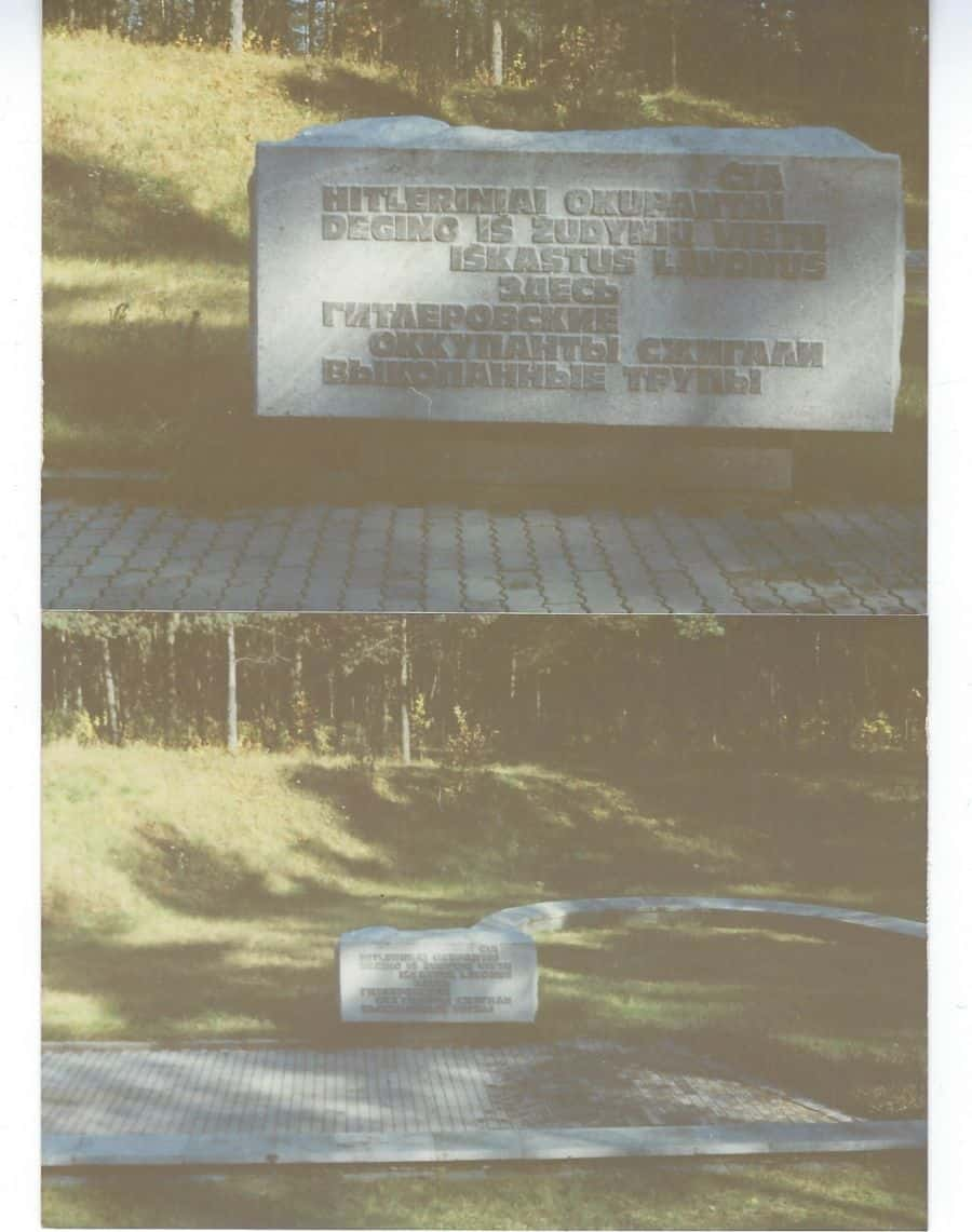 Ponary forest, Vilna, October 11, 1987-in the forest there are 5 large pits in which Jews' bodies were burned en mass. My mother's parents, my grandparents, among the dead.