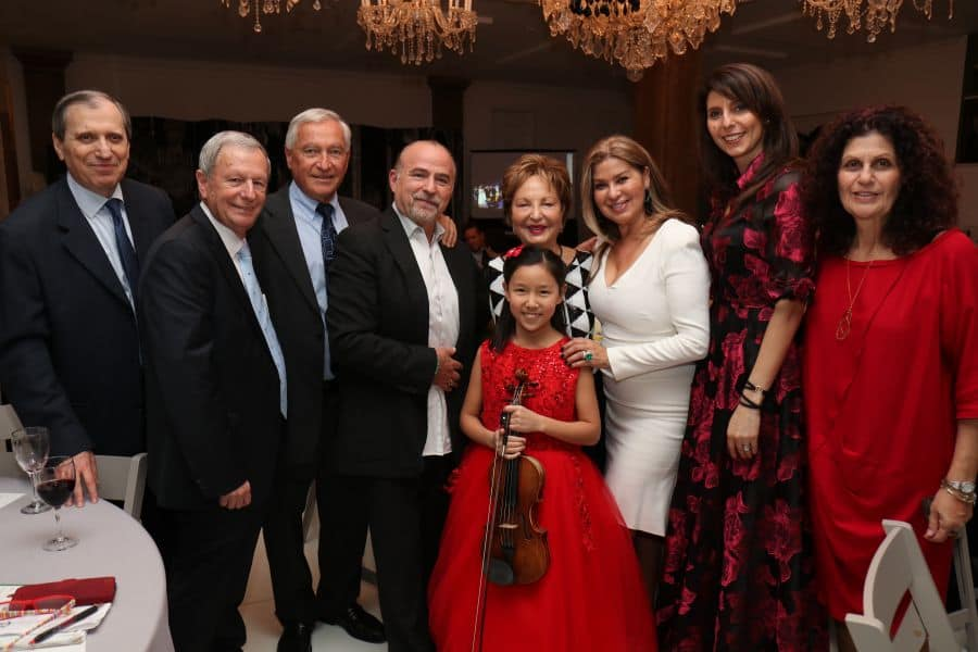 Itzhak Rashkovsky Music Director, Gilad Sheba Managing Director, Itzick Sharir Chairman of the Board, Daniel Mani host, Mrs. Raya Strauss-Bendror Center's esteemed patron, Tsipi Mani host, Betty Grinstein, Nitza Avidan Director of Financial Operations and violinist Leih Zhu