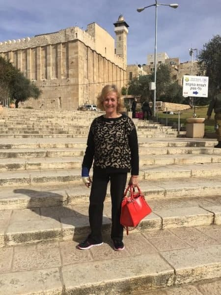 The writer in Hebron-up the steps to the cave of the patriarchs