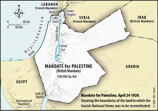Mandate for Palestine in 1920-Original territory assigned to the Jewish National Home by the League of Nations