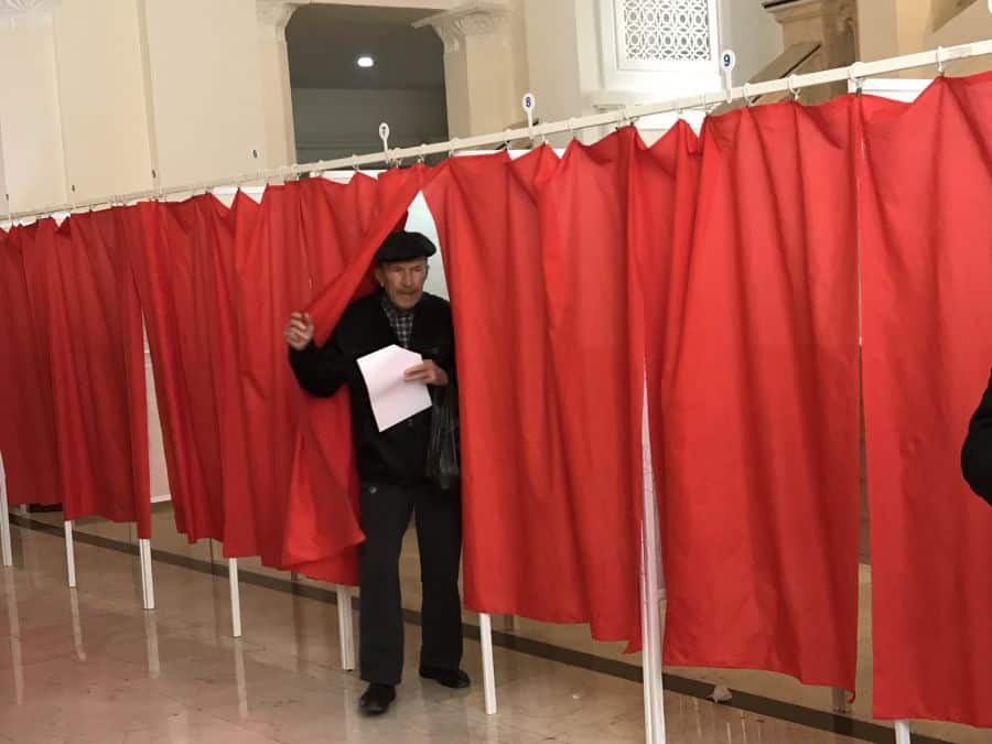 With the ballot out the ballot booth in Baku