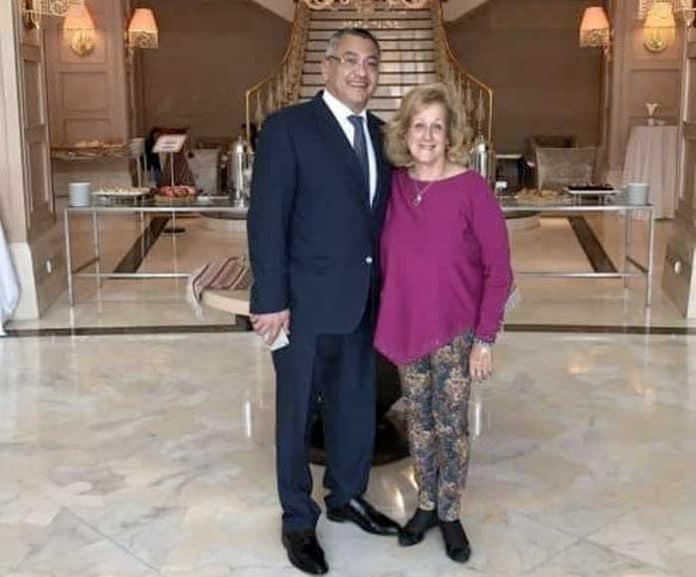 The writer with Minister Rovshan Azayev in Baku, Azerbaijan