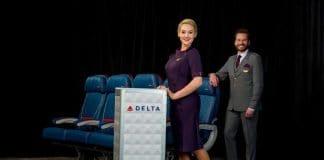 delta new uniform cart in aisle.