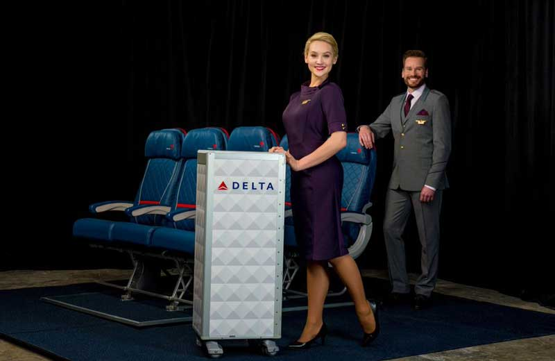 delta new uniform cart in aisle.
