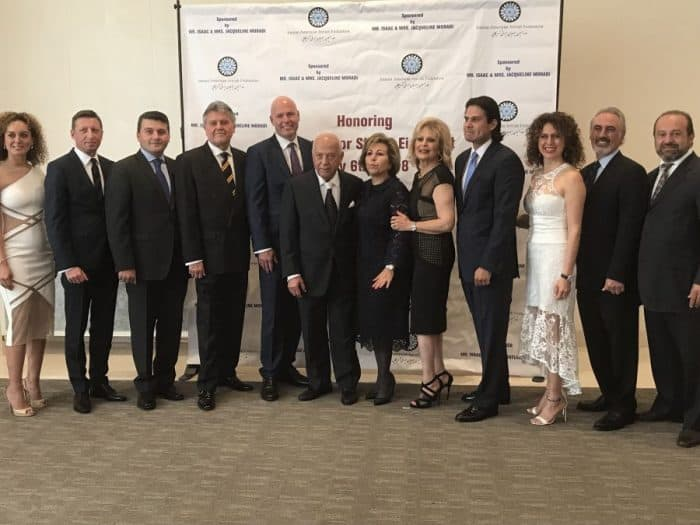 From R-to-L: Alex Moradi (son), Juan Torkan (son-in-law), Patti Torkan (daughter), Can Oguz Consul General of Turkey, Jacqueline Moradi, Susan Azizzadeh (President of Iranian American Jewish Federation), Isaac Moradi, Andreas Launer Consul General of Austria, Hugo Portugal Consul General of Peru, Nasimi Aghayev Consul General of Azerbaijan, Jarosław Łasinski Consul General of Poland, Natasha Moradi (daughter).