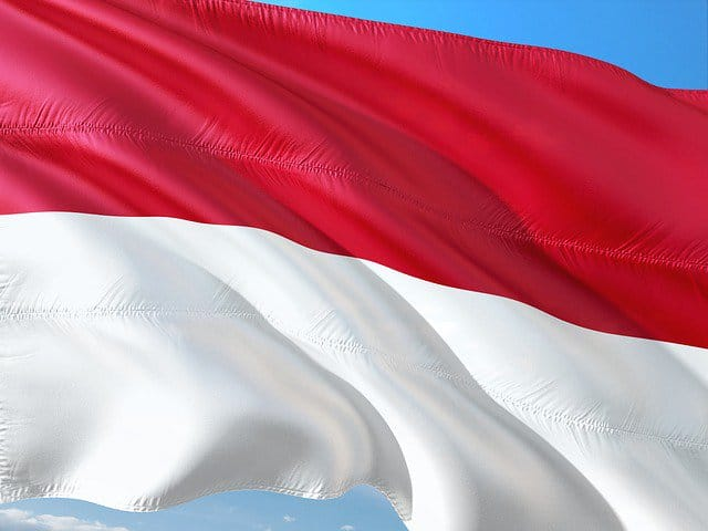 The Indonesian flag.