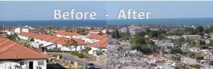 Gaza Gush Katif before and after the expulsion of Jews