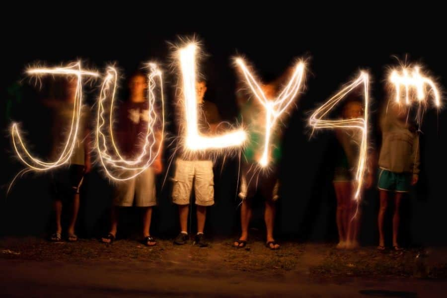America moves forward, 4th july light painting.