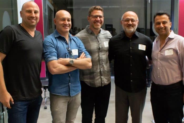 L-to-R: David Dorfman (AFTAU & Host), Eran Gilad (Scopus Ventures), Ben McMaster (Philosophie), Behzad Kianmahd (TAU Ventures), Dr. Daniel Nazarian (TAU Ventures) - Photo credit AFTA