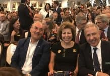 Center-Susan Azizzadeh, the President of the Iranian-American Jewish Federation- L-Hormoz Azizzadeh, R-Yusef Zedeh-Photo Nurit Greenger