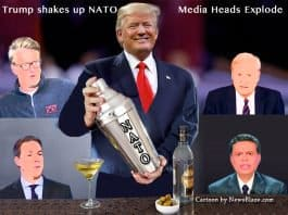 trump shakes up nato, and media heads explode.