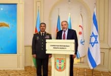 Colonel General Zakir Hasanov, the Minister of Defense of the Republic of Azerbaijan with Mr. Avigdor Lieberamn, Israel Minister of Defense-Photo credit Consulate General Azerbaijan