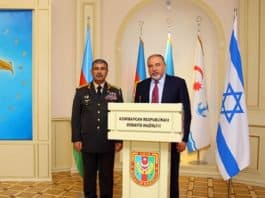 Colonel General Zakir Hasanov, the Minister of Defense of the Republic of Azerbaijan with Mr. Avigdor Lieberamn, Israel Minister of Defense-Photo credit Consulate General Azerbaijan