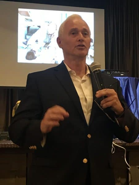 Israeli Moshe Pitchon speaking at the Iranian-American Jewish Center presentation - August 15, 2018 - Photo Nurit Greenger