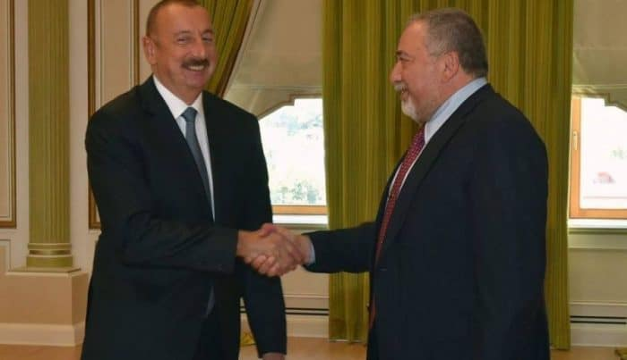 Mr. Ilham Aliyev, the President of the Republic of Azerbaijan[L] & Mr. Avigdor Lieberman, Israel Minister of Defense-Photo credit Consulate General Azerbaijan