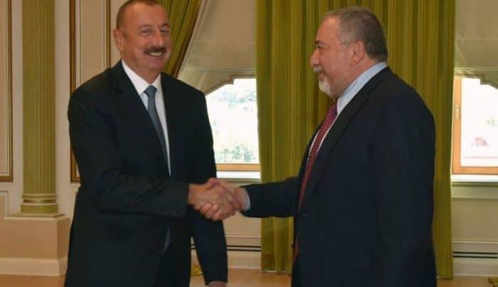 Mr. Ilham Aliyev, the President of the Republic of Azerbaijan[L] & Mr. Avigdor Lieberman, Israel Minister of Defense-Photo credit Consulate General Azerbaijan