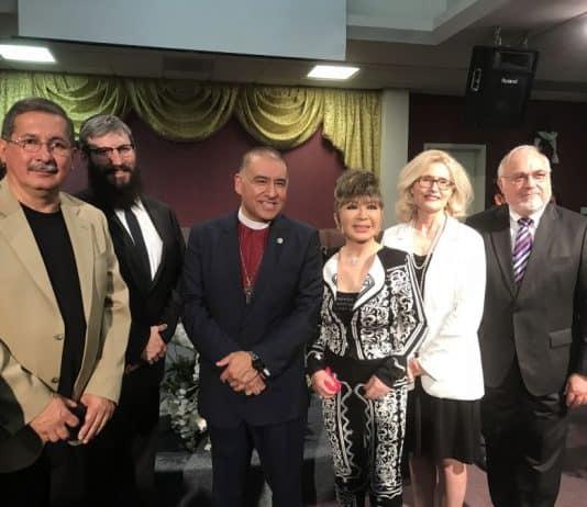 R-Rabbi Cooper, Carolyn Ben Natan, Grandmaster Dr. Tae Yun Kim, Bishop Mendez, Rabbi Yonah Bookstein of Pico Shul-Photo credit Nurit Greenger