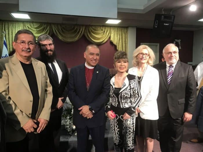 R-Rabbi Cooper, Carolyn Ben Natan, Grandmaster Dr. Tae Yun Kim, Bishop Mendez, Rabbi Yonah Bookstein of Pico Shul-Photo credit Nurit Greenger