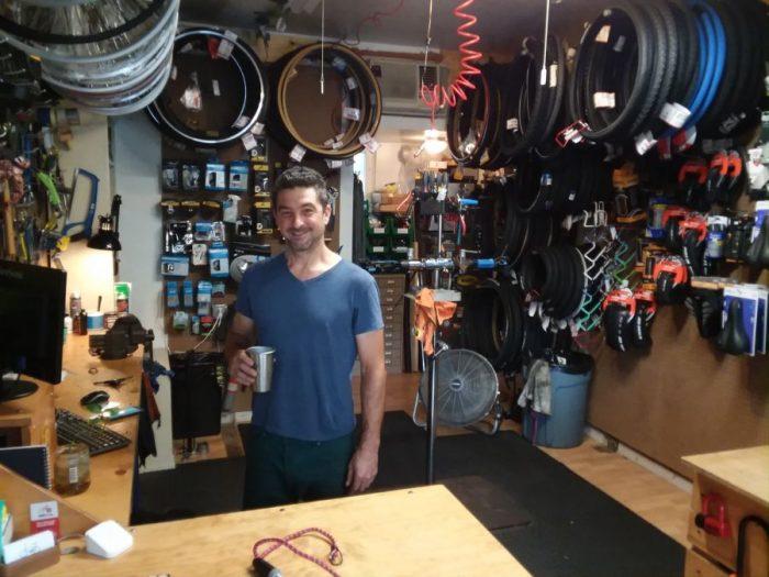 josh in the joyride bikes shop.