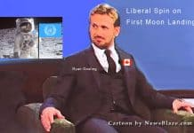 liberal spin on the first moon landing
