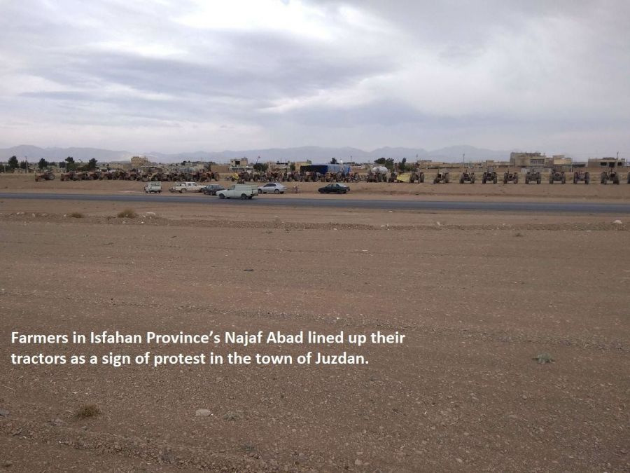 Farmers in Isfahan Province's Najaf Abad lined up their tractors as a sign of protest in the town of Juzdan.