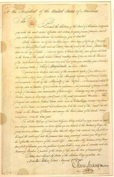Moses Seixas' letter to President George Washington