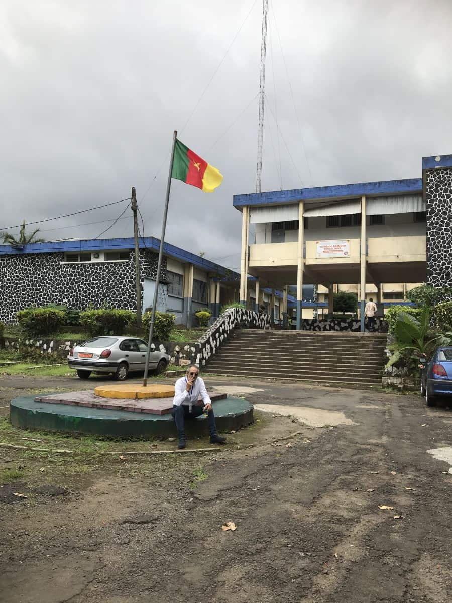 Entrance to the polling station in Limbe high school