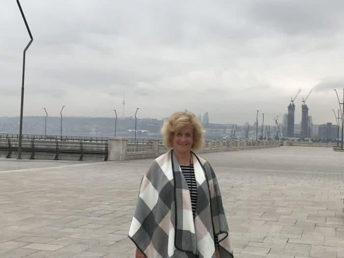 Baku long promenade early foggy Monday morning