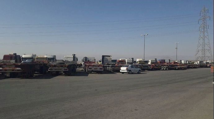 truck drivers protest in mobarakeh