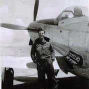 Mitch Flint by his Israeli plane in 1948