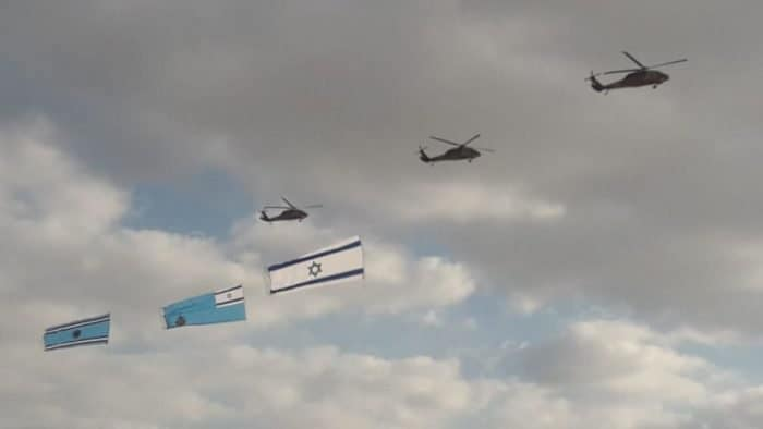 Proud Helicopters with IAF flag and the national flag