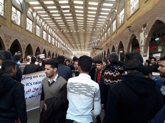 Steelworkers strike in Ahvaz on Dec.16.2018
