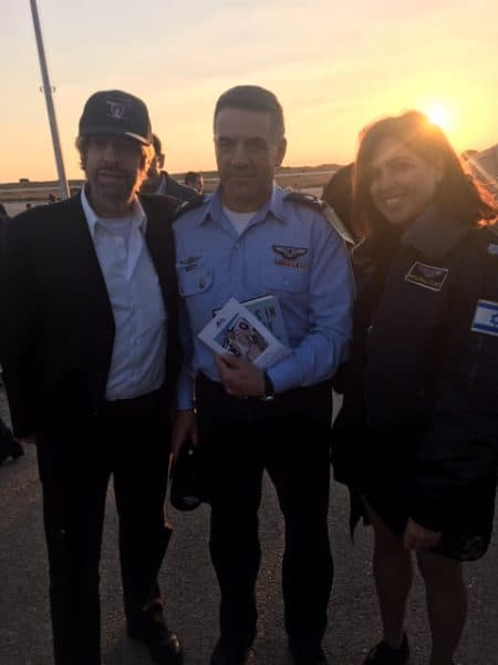 At pilot graduation ceremony, Aluf Amikam Norkin, IAF Commander and the book Angles In The Sky, Mike Flint and PR Yael,