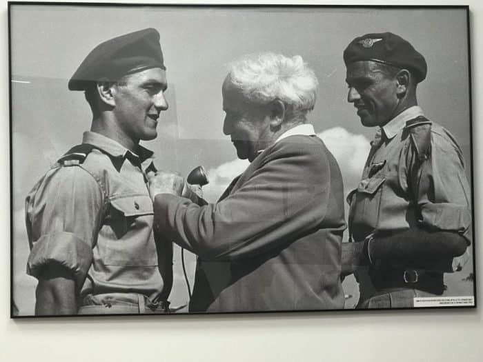 David Ben Gurion, first Prime Minister of Israel, endowing early years Israeli pilots with pilot's wings at their graduation ceremony