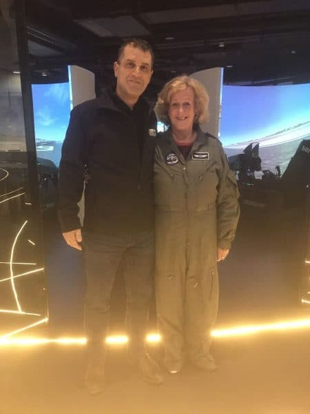 The writer with Squadron-טייסת-Kobi Regev CEO, at the entrance to the simulators' room