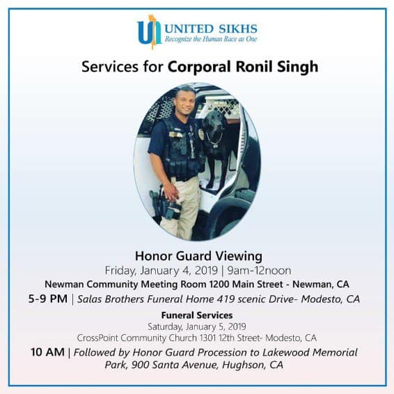 officer ronil singh funeral service.