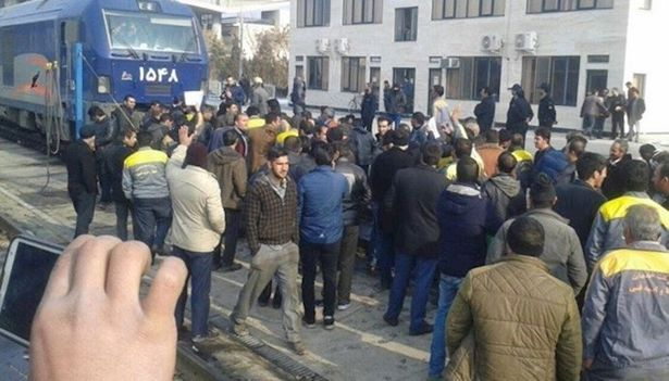 railroad workers protest in mashhad