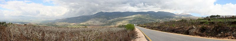 Panorama showing the upper Golan Heights and Mount Hermon with the Hula Valley to the left.