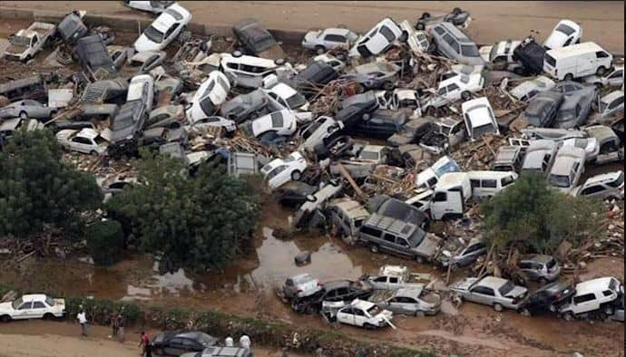 cars destroyed in flood