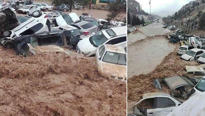 iran flood cars