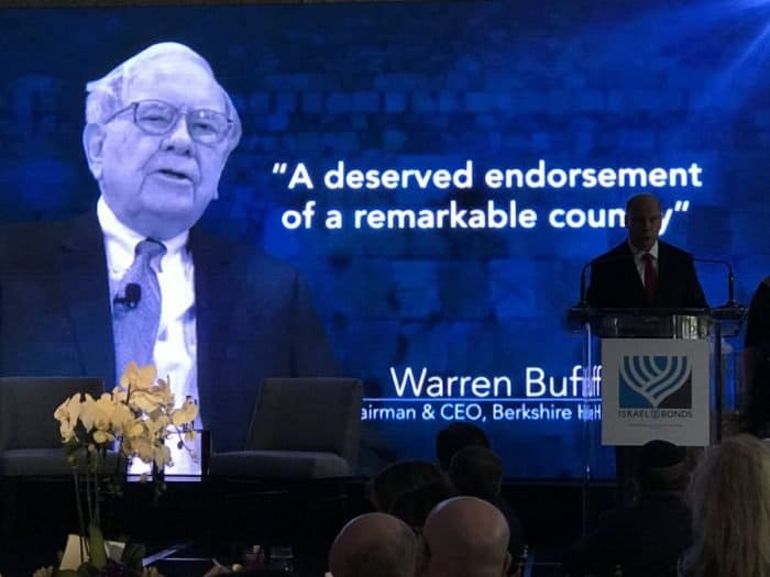 Warren Buffett, an avid investor in Israel's economy