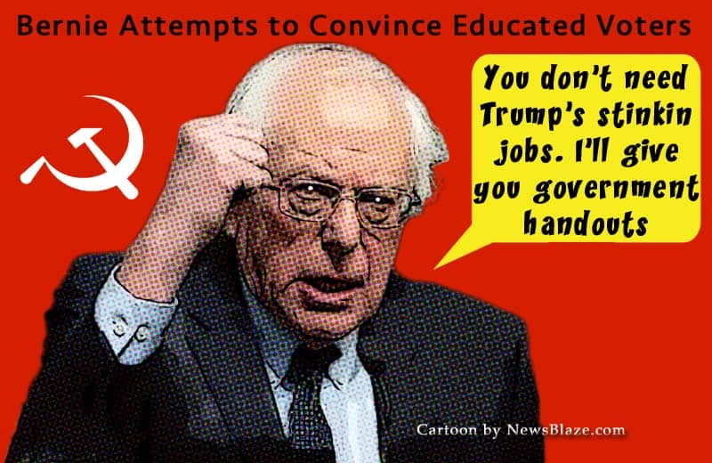 bernie attempts to convince educated voters